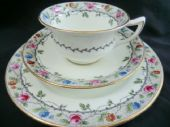 Aynsley Edwardian tea trio - floral on black